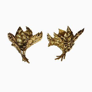 Leaf Sconces by Jacques Duval-Brasseur, 1970s, Set of 2