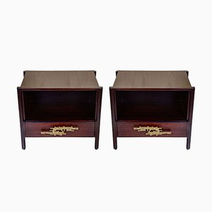 Vintage Brass & Rosewood Nightstands, Set of 2