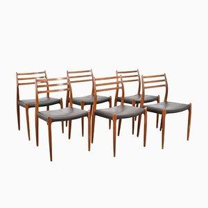 Model 78 Dining Chairs by Niels O. Møller for J.L. Møllers, 1960s, Set of 6
