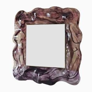 Espejo italiano de cristal de Murano, años 80