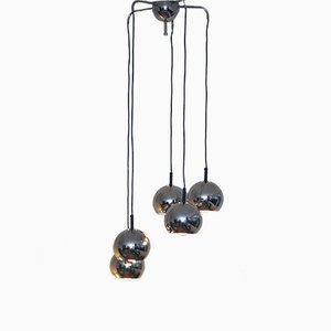 Lampe à Suspension Mid-Century avec 5 Globes en Chrome