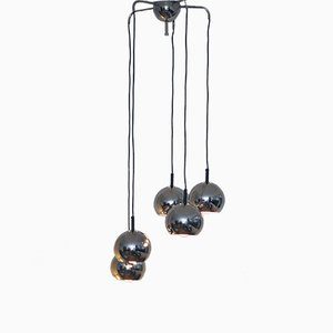 Mid-Century Pendant with Five Chrome Balls