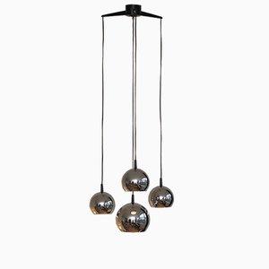 Lampe à Suspension Mid-Century avec 4 Globes en Chrome