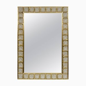Vintage Murano Glass Mirror with Brass Frame