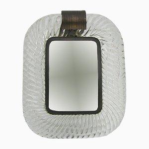 Espejo de cristal de Murano grueso y cobre, años 60
