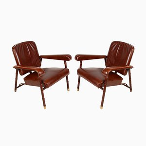 Armchairs by Jacques Adnet, 1950s, Set of 2