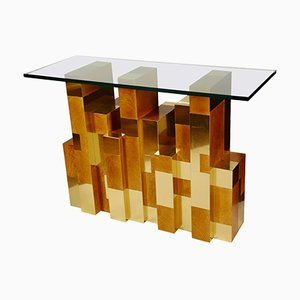 Vintage Cityscape Console Table by Paul Evans