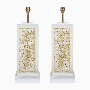 Lámparas de mesa con detalles dorados de Romeo Paris, años 70. Juego de 2