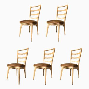 Art Deco French Oak Dining Chairs by Gaston Poisson, Set of 5