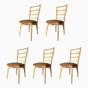 Chaises de Salle à Manger Art Deco en Chêne par Gaston Poisson, France, Set de 5