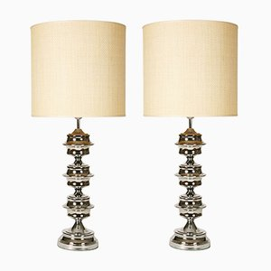 Vintage Space Age Table Lamps in Chrome, Set of 2