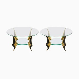 Vintage Bronze Side Tables by Willy Daro, Set of 2