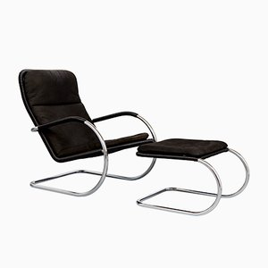 Vintage Bauhaus D35 Cantilever Chair & C35 Ottoman by Anton Lorenz for Tecta