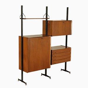 Mueble modular de pared de chapa de caoba y metal, años 60