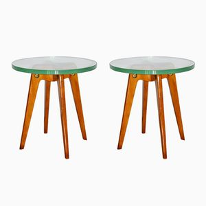 Mid-Century Italian Wood and Glass Coffee Tables, 1950s, Set of 2