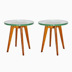 Tavolini da caffè Mid-Century in legno e vetro, Italia, anni '50, set di 2