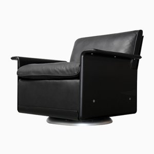 Vintage Black Aniline Leather 620 Lounge Chair by Dieter Rams for Vitsœ