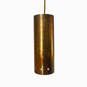 Lampada a sospensione tubolare in ottone, anni '60