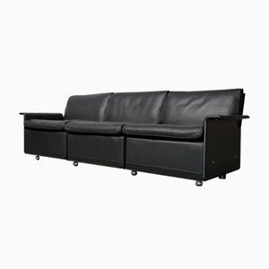 Vintage Black Leather 620 3-Seater Sofa by Dieter Rams for Vitsœ