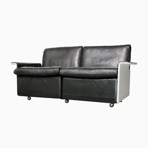 Black Leather 620 2-Seater Sofa by Dieter Rams for Vitsœ, 1980s