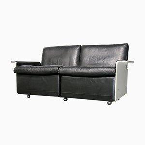 Sofá de dos plazas 620 de cuero negro de Dieter Rams para Vitsœ, años 80