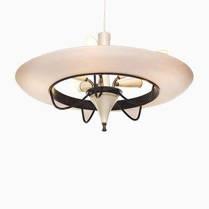 Lámpara colgante italiana vintage en forma de platillo volante de vidrio y latón, años 50