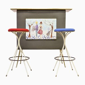 Dry Bar with 2 Bar Stools from C. De Savigny, 1950s