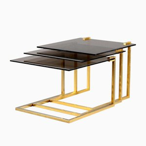 French Smoked Glass & Brass Nesting Tables, 1970s