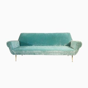 Italian 4-Seater Sofa in Velvet, 1950s