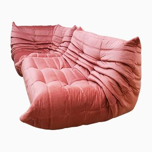 Set da salotto Togo vintage in velluto rosa di Michel Ducaroy per Ligne Roset
