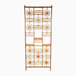 Biombo o estantería Mid-Century de bambú