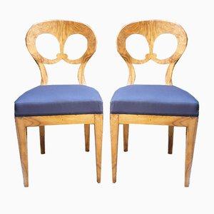 Biedermeier Walnut Chairs, 1820s, Set of 2