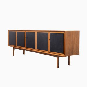 Large Mid-Century Sideboard with Leather Covered Cassette Doors