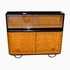 Bauhaus Bohemian Oak & Walnut Veneer Display Cabinet, 1930s
