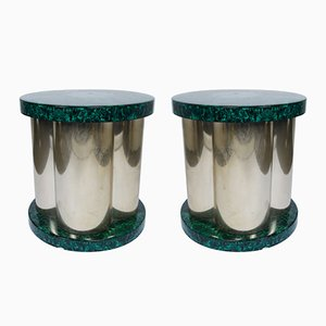 Faux Malachite Side Tables, 1970s, Set of 2