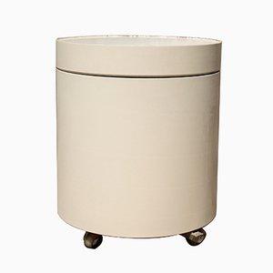Carrito de bar minimalista redondo en blanco, años 60