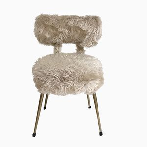 White Faux Fur Chair, 1970s