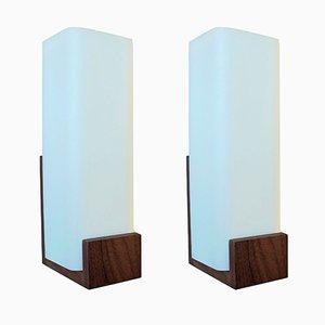 Lámparas de pared modernistas de teca de Louis Kalff para Philips, años 60. Juego de 2