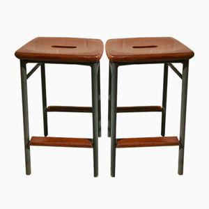 Mid-Century Metal & Teak Stools, Set of 2