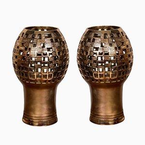 Tischlampen aus Bronze von Robert Phandeve, 1970er, 2er Set