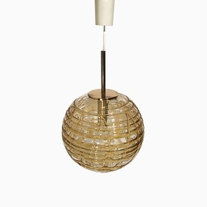 Lámpara colgante con dibujos en ámbar de Doria, años 60