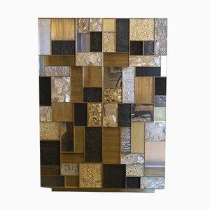 Hoher Schrank aus Messing, Stahl, & Gipskristall von Franco Mariotti für Edizioni Flair, 2018