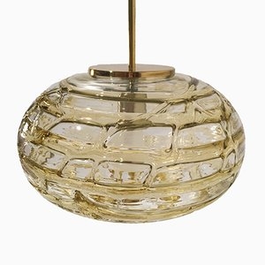 Lámpara colgante de vidrio con dibujos en ámbar, años 60