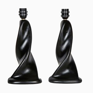 Sculptural Black Ceramic Table Lamps, 1950s, Set of 2