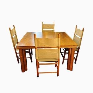 Sedie Kentucky e tavolo Scuderia di Carlo Scarpa per Bernini, 1977