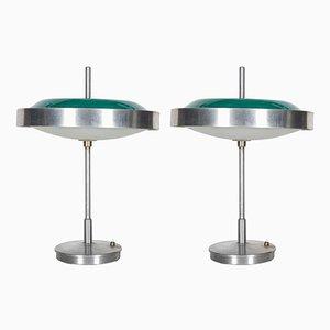 Glas & Stahl Tischlampen, 1960er, 2er Set