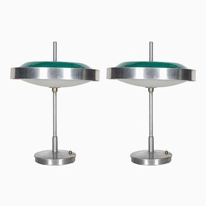 Glass & Steel Table Lamps, 1960s, Set of 2
