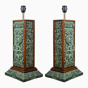 Vintage Mexican Green Compressed Stone Table Lamps, Set of 2