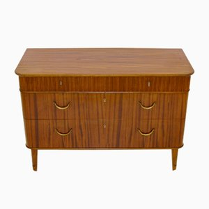 Mid-Century Swedish Chest of Drawers with Ribbed Decoration from Förenade Möbler