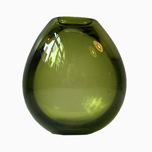 Modernist Green Teardrop Vase by Per Lütken for Holmegaard, 1960s